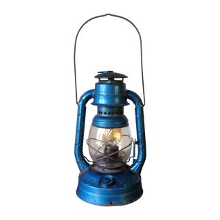 Vintage Blue Metal Electric Lantern