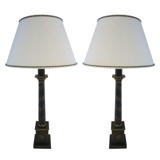 Green Column Table Lamps - A pair