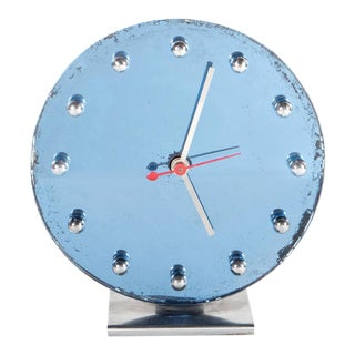 Art Deco Mirrored Blue Glass and Chrome Clock by Gilbert Rohde for Herman Miller