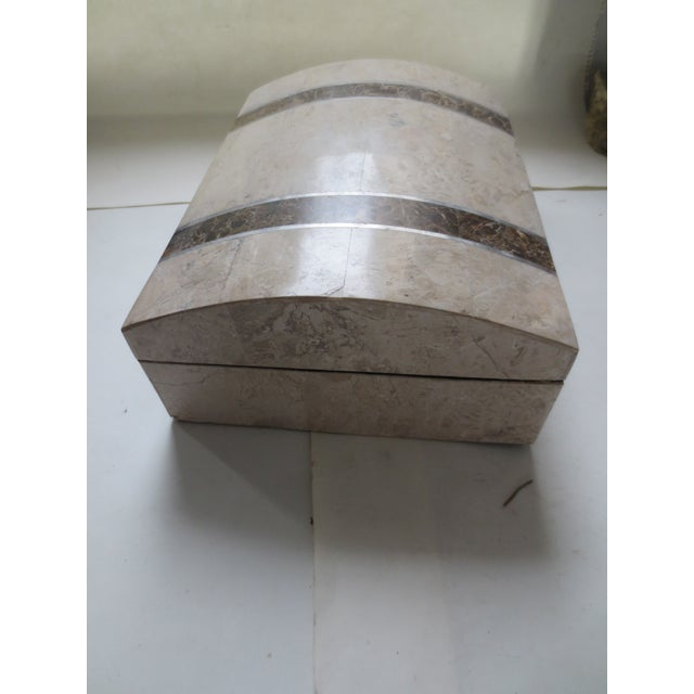 Image of Large Lined Tessellated Marble Box With Nacre Trim