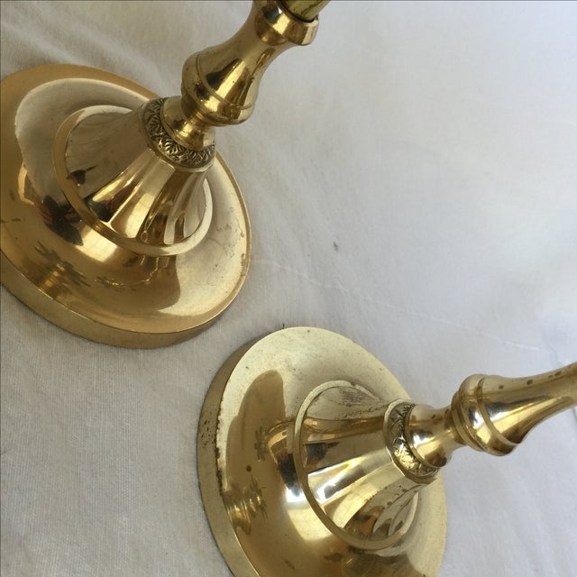 Brass Palm Tree Candle Holders - Pair - Image 8 of 9