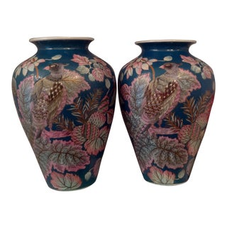 Chinoiserie Pink Bird Floral Vases - A Pair
