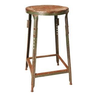 Vintage Industrial Green Metal Stool