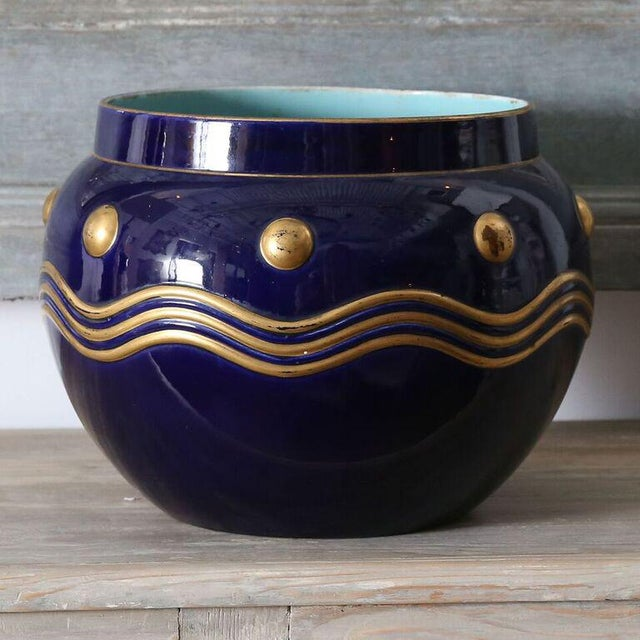 French Faience Cachepot with Gilt Detail - Image 5 of 7