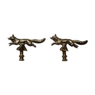 Solid Brass Fox Finials - A Pair