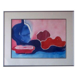 Modern Abstract Connie De Vries Painting Fruit Mid Century Modern Watercolor New York Artist