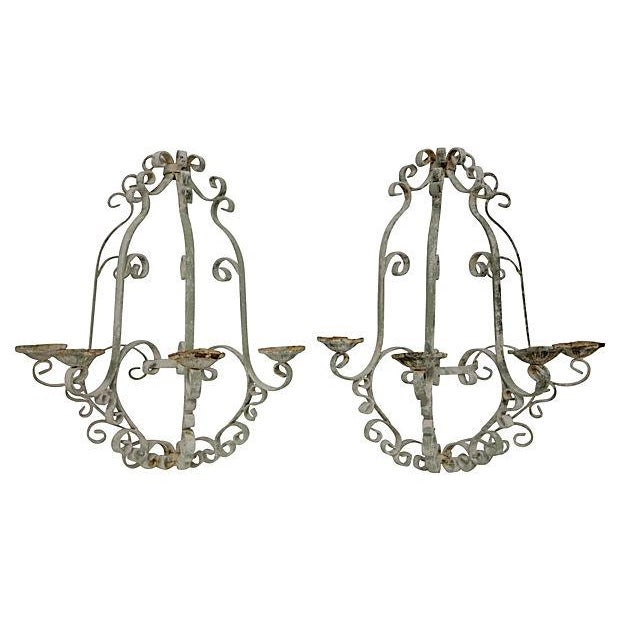Shabby Chic Wrought Iron Sconces - A Pair - Image 1 of 5