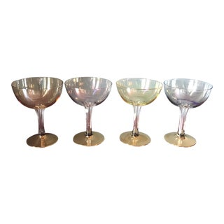 Carnival Glass Hollow Stem Champagne Glasses - Set of 4