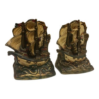 Armor Bronze Ship Bookends - A Pair
