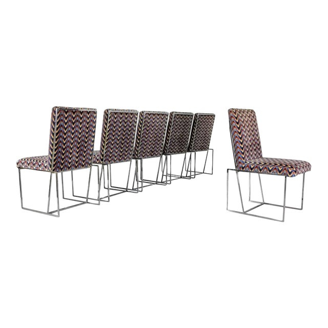 1970s Milo Baughman Style Chrome Dining Chairs - Set of 6 - Image 1 of 6