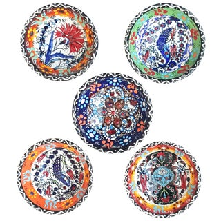 Handmade Turkish Tile Bowls - Set of 5