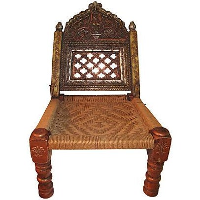 Hand-Carved Meditation Chair - Image 1 of 2