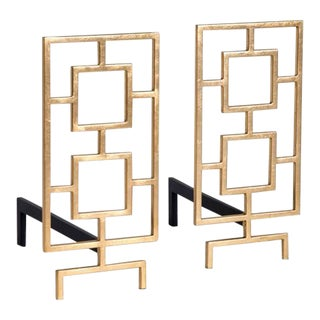 Contemporary Gold Leafed Andirons - a Pair