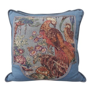 Printed Linen Blue Bird Pillows - A Pair