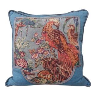 Printed Linen Blue Bird Pillows - A Pair