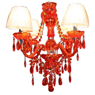 Beaded Orange Chandelier