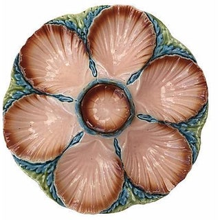 Pink Majolica Oyster Plate