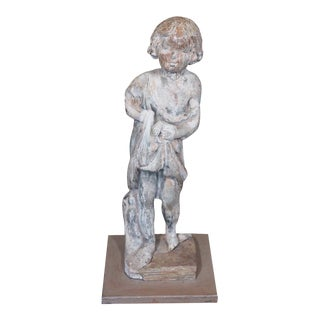 19th Century French Lead Statue of a Young Girl