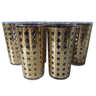 6 Culver Canella 22k Gold Highball Glasses