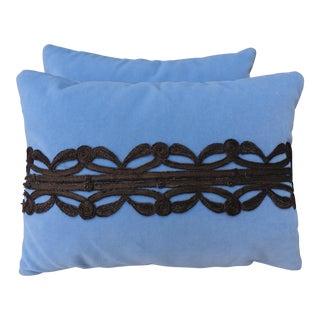 Sky Blue Velvet Metallic Appliqued Pillows - A Pair