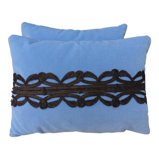 Sky Blue Velvet Metallic Appliqued Pillows - A Pair