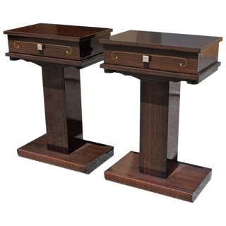 French Art Deco Macassar Ebony Nightstands - A Pair