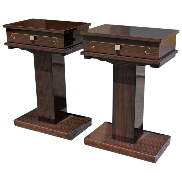 French Art Deco Macassar Ebony Nightstands - A Pair - Image 1 of 10