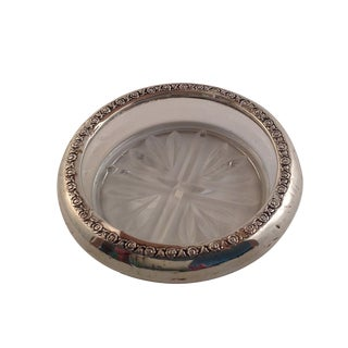 Sterling Silver & Glass Drink Coasters - Set of 5