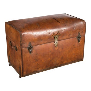 19th Century Leather Barrel Top Steamer Trunk