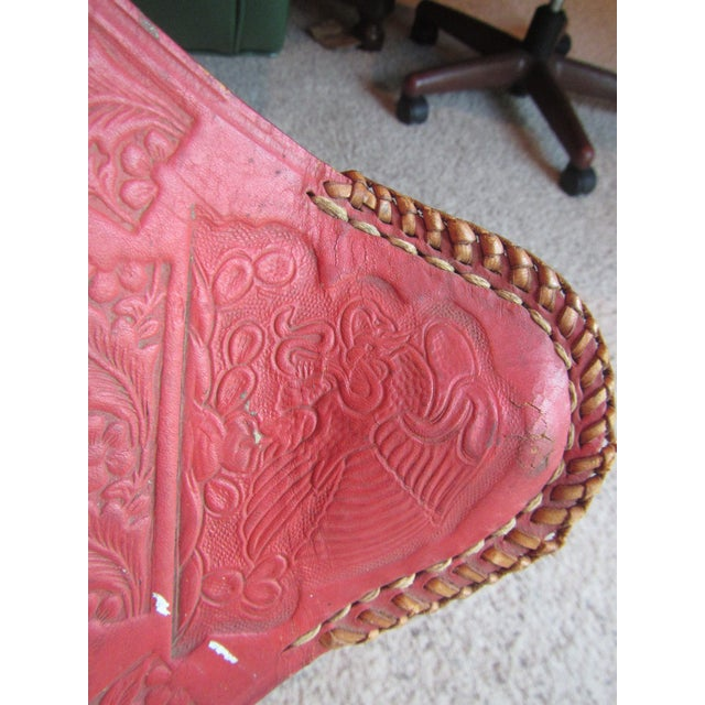 Vintage Mexican Craft Mid Century Red Leather Stool - Image 7 of 11