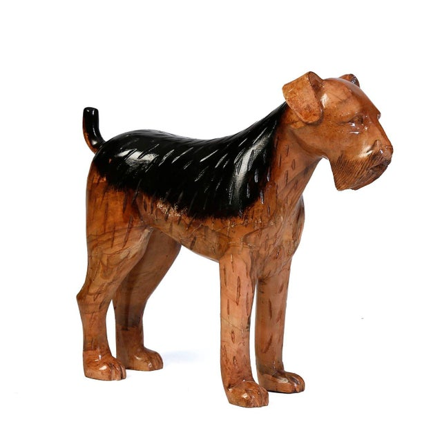 Carved Solid Wood Airedale Terrier - Image 1 of 2