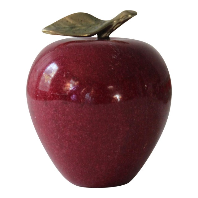 Image of Red Marble Apple Paperweight