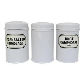 Porcelain Apothecary Jars, Set of 3