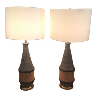 Bitossi Italy Ceramic Rope Lamp, 1960s - A Pair