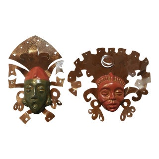 Aztec Hanging Wall Masks - A Pair