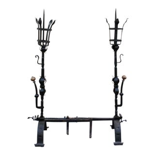 Wrought Iron Figural Large Andirons - a Pair