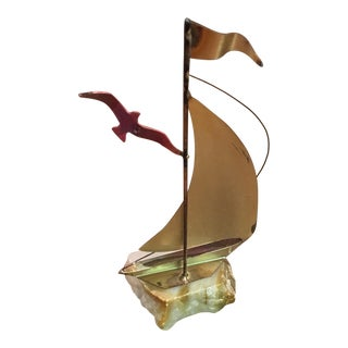 Mid-Century Brutalist Brass Sailboat Sculpture