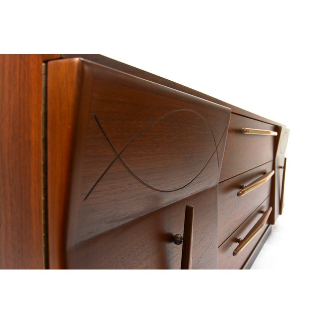 Mexican Modernist Walnut Credenza - Image 4 of 8