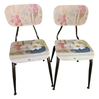 Bentwood School Chairs w/Linen Design - A Pair