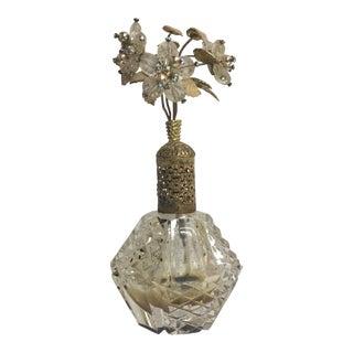 Cut Glass Crystal Beaded Flower Top Perfume Bottle