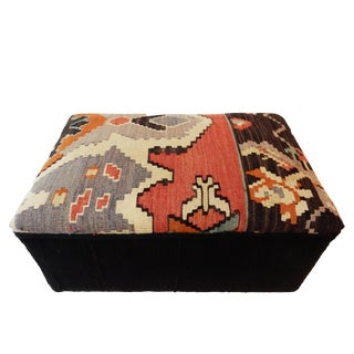 Tribal Kilim Rug & Mud Cloth Ottoman