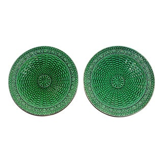 Green Majolica Weave Plates - A Pair