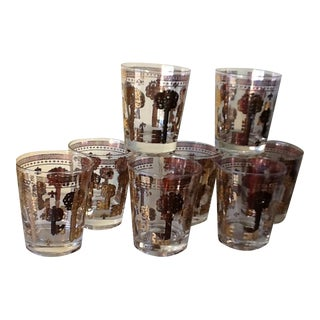 Mid-Century Metallic Gold Key Highball Glasses - Set of 8