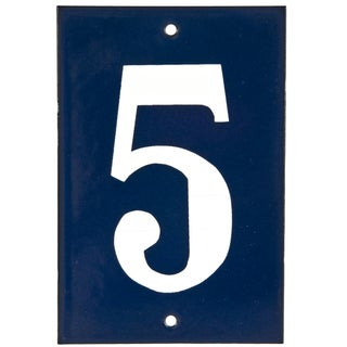"Vintage Blue & White House Number ""5"""