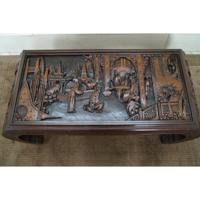 Carved Coffee Table Glass Top Chinese: George Zee Vintage Carved Chinese Coffee Table