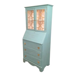 Blue Hutch China Cabinet Desk