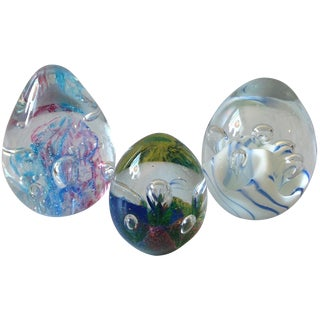 Murano Art Glass Egg Paperweights - Set of 3