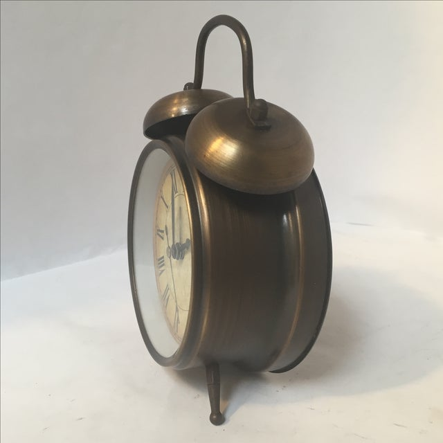 Antique Style Brushed Brass Alarm Clock - Image 7 of 9