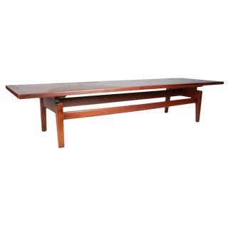 Handsome, Long Walnut Coffee Table by Jens Risom
