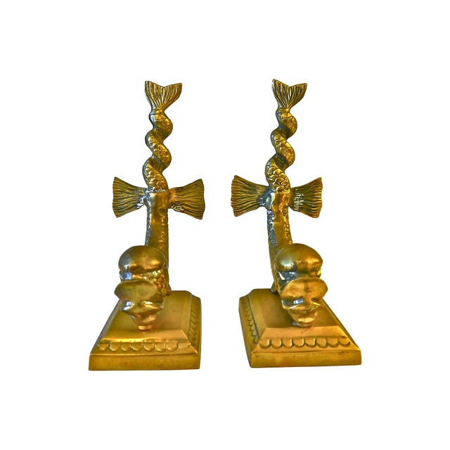 Cast Brass Dolphin Bookends - Image 5 of 5